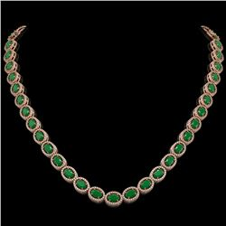 34.11 CTW Emerald & Diamond Halo Necklace 10K Rose Gold - REF-562T9M - 40401