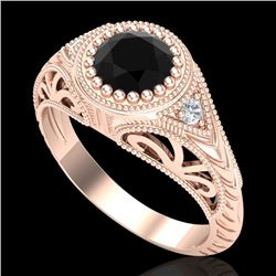 1.07 CTW Fancy Black Diamond Solitaire Engagement Art Deco Ring 18K Rose Gold - REF-72K5W - 37472