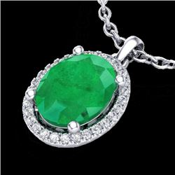 3 CTW Emerald & Micro Pave VS/SI Diamond Necklace Halo 18K White Gold - REF-59W3F - 21078