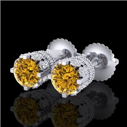 1.75 CTW Intense Fancy Yellow Diamond Art Deco Stud Earrings 18K White Gold - REF-172Y8K - 37357