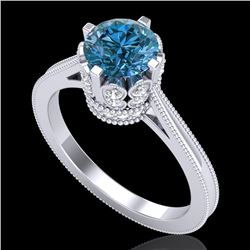 1.5 CTW Fancy Intense Blue Diamond Engagement Art Deco Ring 18K White Gold - REF-209M3H - 37348