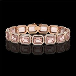 37.11 CTW Morganite & Diamond Halo Bracelet 10K Rose Gold - REF-787H3A - 41535