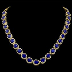 64.01 CTW Sapphire & Diamond Halo Necklace 10K Yellow Gold - REF-733F5N - 41194