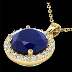 2 CTW Sapphire & Halo VS/SI Diamond Micro Pave Necklace 18K Yellow Gold - REF-44H2A - 21576