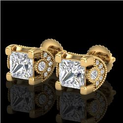 2.5 CTW Princess VS/SI Diamond Art Deco Stud Earrings 18K Yellow Gold - REF-642X2T - 37153