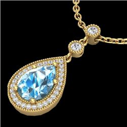 2.25 CTW Sky Blue Topaz & Micro Pave VS/SI Diamond Necklace 18K Yellow Gold - REF-45Y3K - 23144