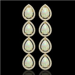 9.12 CTW Opal & Diamond Halo Earrings 10K Yellow Gold - REF-174T5M - 41299