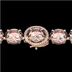 67 CTW Morganite & Micro Pave VS/SI Diamond Halo Bracelet 14K Rose Gold - REF-763Y6K - 22268