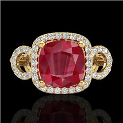 3.15 CTW Ruby & Micro VS/SI Diamond Ring 18K Yellow Gold - REF-76K9W - 23009