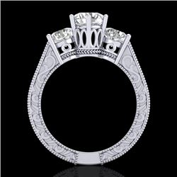 2.01 CTW VS/SI Diamond Solitaire Art Deco 3 Stone Ring 18K White Gold - REF-527Y3K - 36929