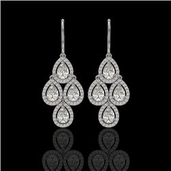 5.22 CTW Pear Diamond Designer Earrings 18K White Gold - REF-969X6T - 42773