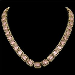 81.64 CTW Morganite & Diamond Halo Necklace 10K Yellow Gold - REF-1728H2A - 41488