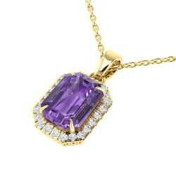 5 CTW Amethyst & Micro Pave VS/SI Diamond Halo Necklace 18K Yellow Gold - REF-50W9F - 21351