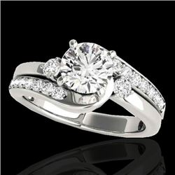 1.5 CTW H-SI/I Certified Diamond Bypass Solitaire Ring 10K White Gold - REF-180W2F - 35093