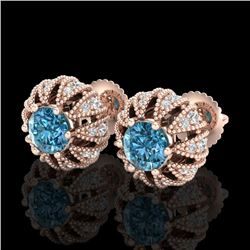 2.01 CTW Fancy Intense Blue Diamond Art Deco Stud Earrings 18K Rose Gold - REF-210M9H - 37734