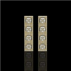 5.31 CTW Princess Diamond Designer Earrings 18K Yellow Gold - REF-978X4T - 42640