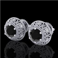1.31 CTW Fancy Black Diamond Solitaire Art Deco Stud Earrings 18K White Gold - REF-81K8W - 37555