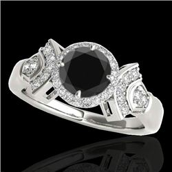 1.56 CTW Certified VS Black Diamond Solitaire Halo Ring 10K White Gold - REF-69H3A - 34331