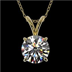 1 CTW Certified H-SI/I Quality Diamond Solitaire Necklace 10K Yellow Gold - REF-147W2F - 33184