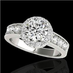 1.85 CTW H-SI/I Certified Diamond Solitaire Halo Ring 10K White Gold - REF-207H3A - 34531