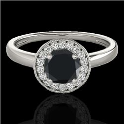 1.15 CTW Certified VS Black Diamond Solitaire Halo Ring 10K White Gold - REF-48T2M - 33466