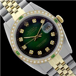 Rolex Ladies Two Tone 14K Gold/SS, Diam Dial & Diam/Emerald Bezel, Sapphire Crystal - REF-440H4W