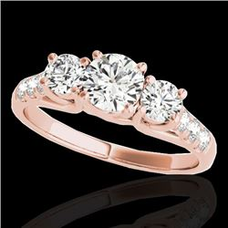 3.25 CTW H-SI/I Certified Diamond 3 Stone Ring 10K Rose Gold - REF-476X4T - 35449