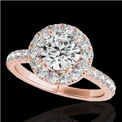 2 CTW H-SI/I Certified Diamond Solitaire Halo Ring 10K Rose Gold - REF-227X3T - 33446