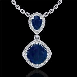 3.50 CTW Sapphire & Micro VS/SI Diamond Necklace Designer Halo 10K White Gold - REF-58A2X - 20548