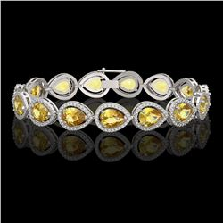 17.3 CTW Fancy Citrine & Diamond Halo Bracelet 10K White Gold - REF-282N9Y - 41276