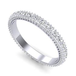 2.50 CTW VS/SI Diamond Art Deco Eternity Men's Band Size 10 18K White Gold - REF-200T2M - 37208