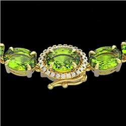 80 CTW Peridot & VS/SI Diamond Tennis Micro Pave Halo Necklace 14K Yellow Gold - REF-317K3W - 23471