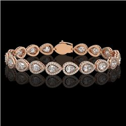 12.38 CTW Pear Diamond Designer Bracelet 18K Rose Gold - REF-2270Y4K - 42645