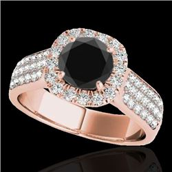 1.8 CTW Certified VS Black Diamond Solitaire Halo Ring 10K Rose Gold - REF-103H6A - 34064