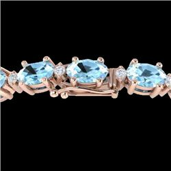 10 CTW Aquamarine & VS/SI Diamond Eternity Bracelet 10K Rose Gold - REF-102T2M - 21439