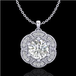 1.01 CTW VS/SI Diamond Solitaire Art Deco Stud Necklace 18K White Gold - REF-245H5A - 37109