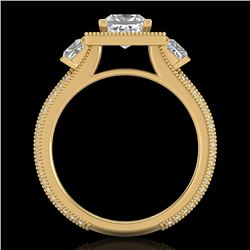 2.5 CTW Princess VS/SI Diamond Micro Pave 3 Stone Ring 18K Yellow Gold - REF-527X3T - 37198