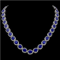 64.01 CTW Sapphire & Diamond Halo Necklace 10K White Gold - REF-733Y5K - 41192