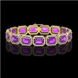 34.86 CTW Amethyst & Diamond Halo Bracelet 10K Yellow Gold - REF-324A9X - 41563