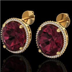 20 CTW Garnet & Micro Pave VS/SI Diamond Halo Earrings 18K Yellow Gold - REF-118A2X - 20274