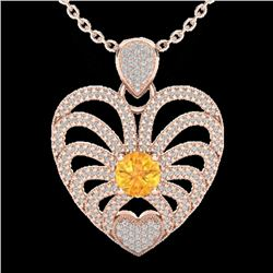 3 CTW Citrine With Micro Pave VS/SI Diamond Heart Necklace 14K Rose Gold - REF-127A3X - 20501