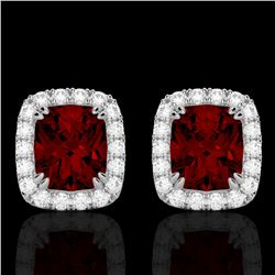 2.50 CTW Garnet & Micro Pave VS/SI Diamond Halo Earrings 10K White Gold - REF-37X6T - 22863
