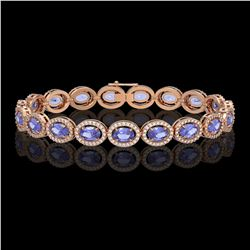 14.25 CTW Tanzanite & Diamond Halo Bracelet 10K Rose Gold - REF-273T5M - 40461