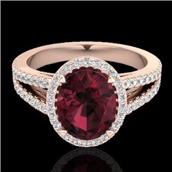 3 CTW Garnet & Micro VS/SI Diamond Halo Solitaire Ring 14K Rose Gold - REF-57K6W - 20940