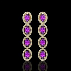 5.56 CTW Amethyst & Diamond Halo Earrings 10K Yellow Gold - REF-103T3M - 40543