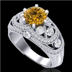 2 CTW Intense Yellow Diamond Solitaire Engagement Art Deco Ring 18K White Gold - REF-309W3F - 37980