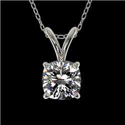 0.50 CTW Certified VS/SI Quality Cushion Cut Diamond Necklace 10K White Gold - REF-79W5F - 33169