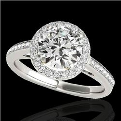 1.3 CTW H-SI/I Certified Diamond Solitaire Halo Ring 10K White & Yellow Gold - REF-172F8N - 34338