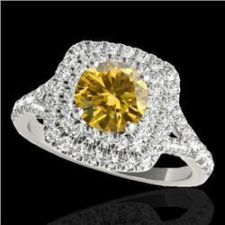 1.6 CTW Certified Si Fancy Intense Diamond Solitaire Halo Ring 10K White Gold - REF-216W4F - 33363