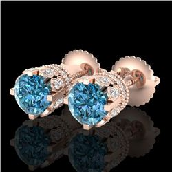 3 CTW Fancy Intense Blue Diamond Solitaire Art Deco Earrings 18K Rose Gold - REF-349T3M - 37363